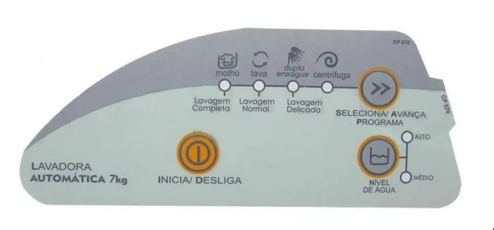 Painel Decorativo Compatível Lavadora Consul 7Kg Cwc24