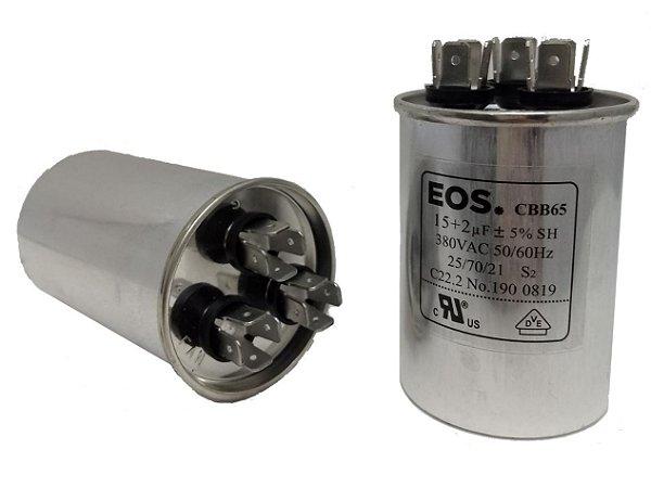 Capacitor 15 + 2 Uf 380V Copo Alumínio