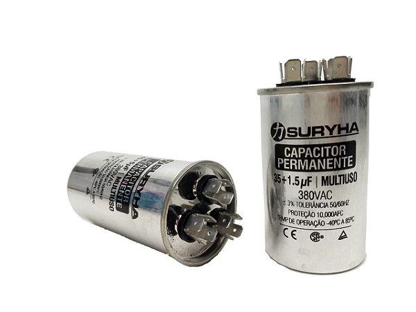 Capacitor 35 + 1,5 Uf 380V Copo Aluminio Suryha