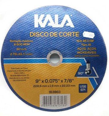 Disco Corte Aço Inox Kala 228,6 X 1,9 X 22,23Mm