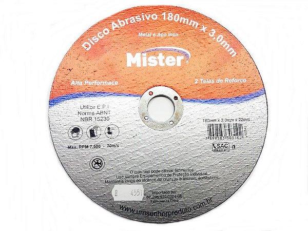 Disco Corte Aço Inox Mister 180 X 3,0 X 22Mm