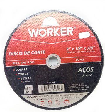 Disco Corte Aço Worker 228,6 X 3,2 X 22,23Mm