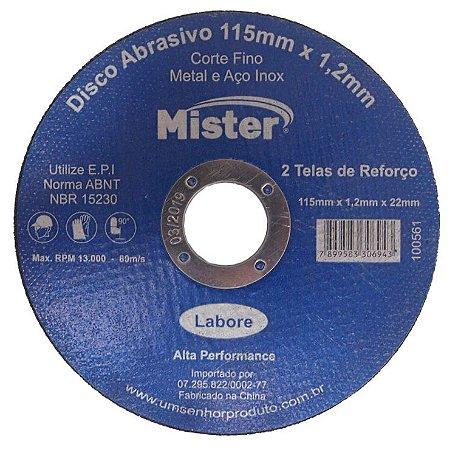 Disco Corte Aço Inox Mister 115 X 1,2 X 22Mm