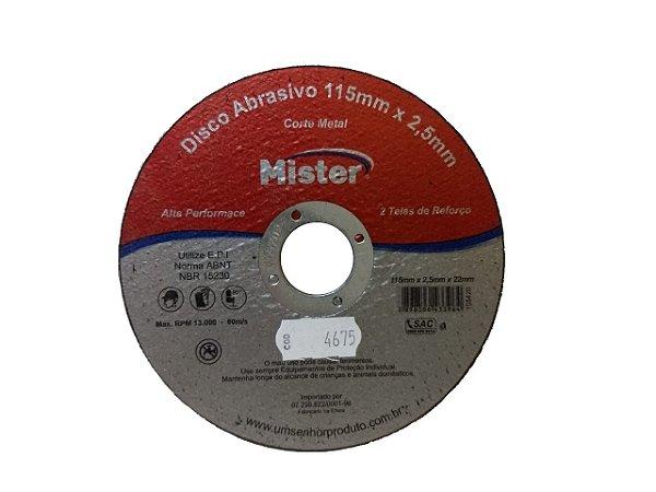 Disco Corte Metal Mister 115 X 2,5 X 22Mm