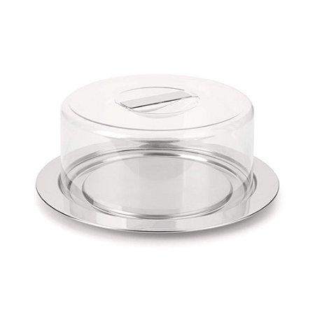 Prato para Queijo/Bolo em aço inox com tampa em acrílico -  25 CM