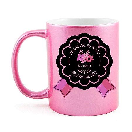 Caneca Metalizada Rosa Dia das Mães Personalizada