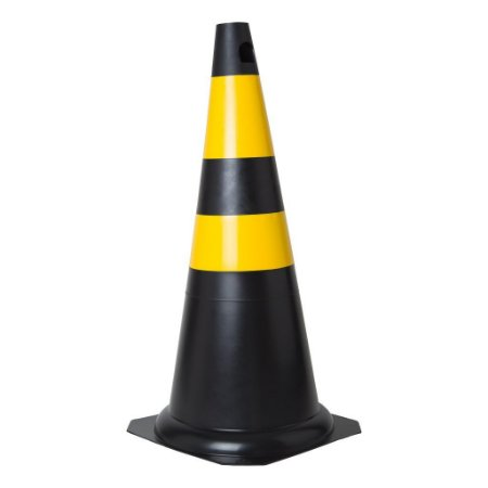 Cone em PVC 75cm preto e amarelo