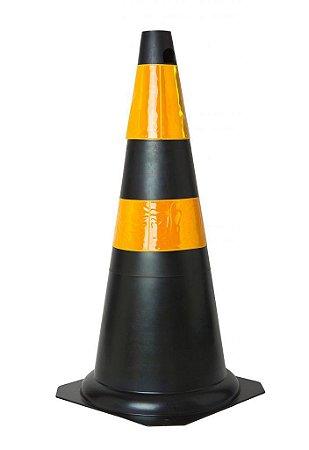 Cone flexível 75cm preto e amarelo