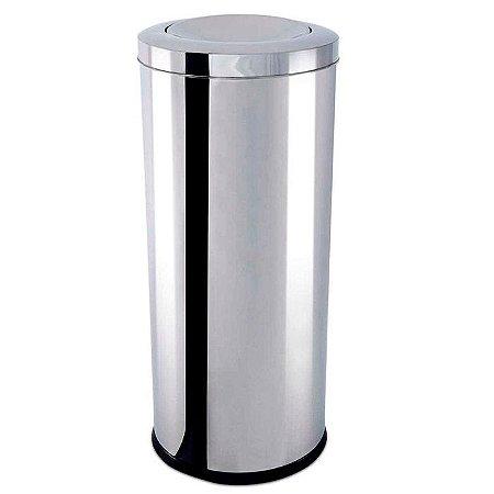 Lixeira Inox com Tampa Basculante 64 litros - Ø 35 x 70 cm
