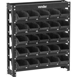 Estante metálica com gavetas, modelo prático 25/3, cor preta - Vonder