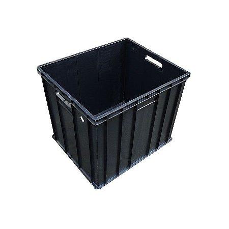 Caixa plástica fechada empilhável preta mod. 1033