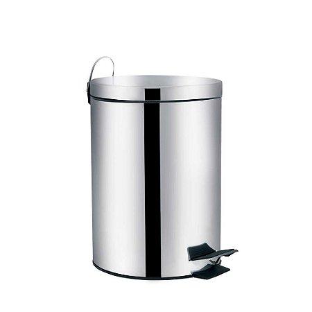 Lixeira em aço inox com pedal e balde interno 5 litros - MOR