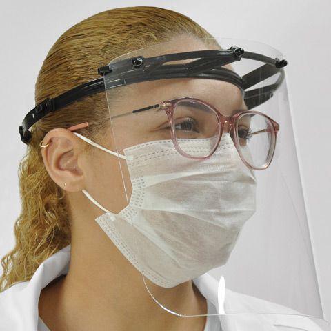 Máscara Protetora Facial - Face Shield em polietileno atóxico e PET cristal