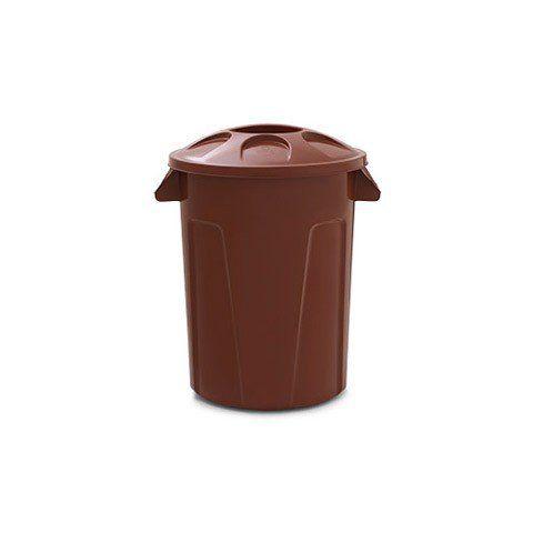 Cesto para lixo 60 litros com tampa Marrom