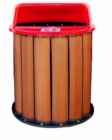 Lixeira em madeira plástica 50cm 67 litros