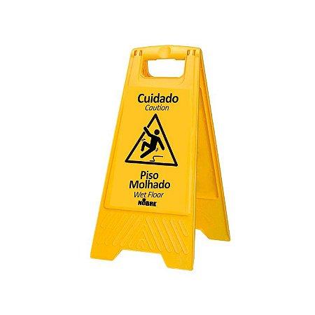 Placa de sinalização Cuidado Piso Molhado