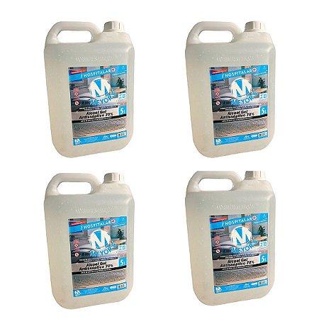 4 UN Álcool Gel Antisséptico para Mãos 70% INPM 5 litros Meyors