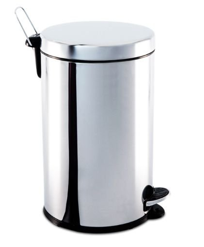 Lixeira em aço inox com pedal e balde 12 litros