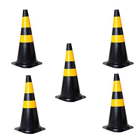 Kit com 05 Cones em PVC Rígido 75cm Preto e Amarelo