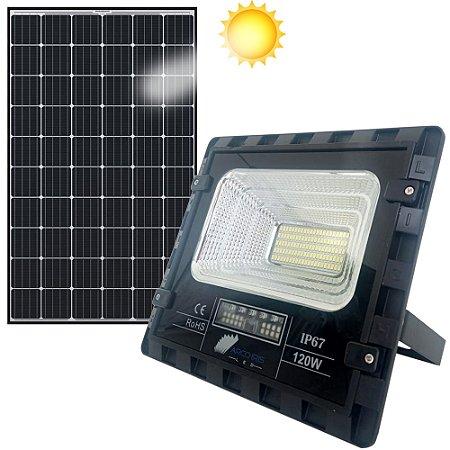 Kit Refletor Holofote 120w Solar + Placa Branco Frio Ip67 - 81363