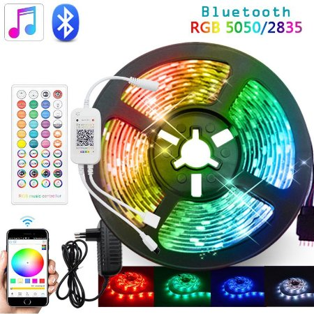 Fita Led RGB 5050 5M Bluetooth com Controle e Fonte Colorida Aplicativo Celular - 81372