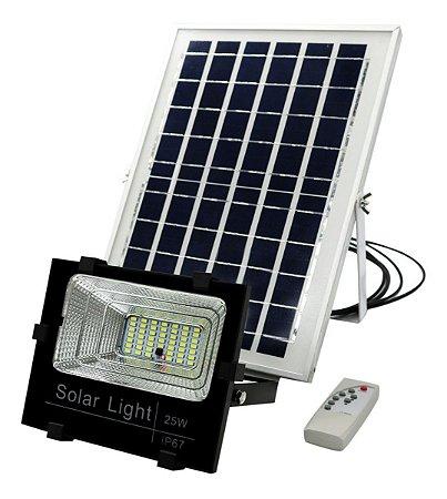 Refletor Led 25w C/ Placa Solar IP67 Branco Frio - 82177