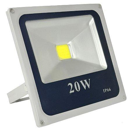 Refletor Led 20w Holofote IP66 Branco Frio Bivolt - Cinza - 81308-2