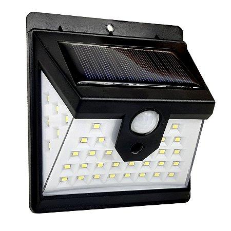 Luminária Solar Parede 8w 40 Leds Arandela Sensor Presença 2 Funções Preto - 82361