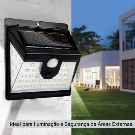Luminária Solar Parede 40 Leds Sensor Presença 2 Funções Preto - 82361