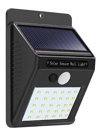 Luminária Solar Parede 35 Leds Sensor Presença 2 Funções 7w Preto - 82297