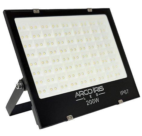 Refletor Holofote Microled 200w Multifocal Branco Frio Ip67 Preto - 82175-1