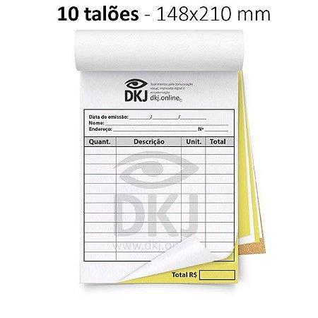 10 talões 148x210 mm - 1º via branca 2º via amarela 53g - blocagem, serrilha e grampo