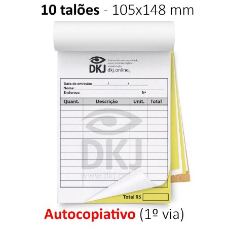 10 talões 105x148 mm - 1º via autocopiativo branca 2º via amarela 53g - 1x0 cores - blocagem, serrilha e grampo