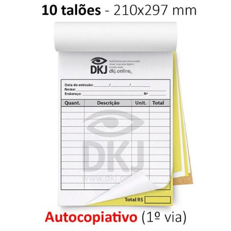 10 talões 210x297 mm - 1º via autocopiativo branca 2º via amarela 53g - 1x0 cores - blocagem, serrilha e grampo