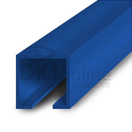 Perfil trilho 12x12 mm abertura de 2 mm em PS azul barra 3 metros