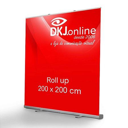 Roll up - porta banner de alto padrão em alumínio 200 x 200 cm
