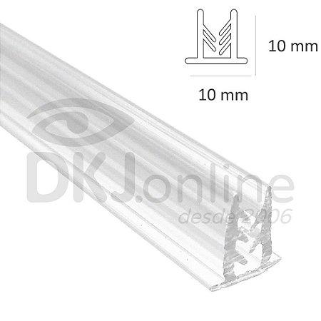 Perfil fixa placa traquitana em pvc transparente 2 metros sem fita dupla face