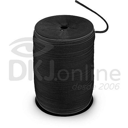 Cordão preto para crachá -  trançado 3/1 rolo 1 kilo