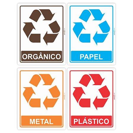 Adesivos para sinalização de lixeira para reciclagem (jogo de 4 unds - 1 de cada)