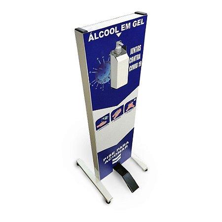 Totem dispenser de álcool em gel acionado por pedal