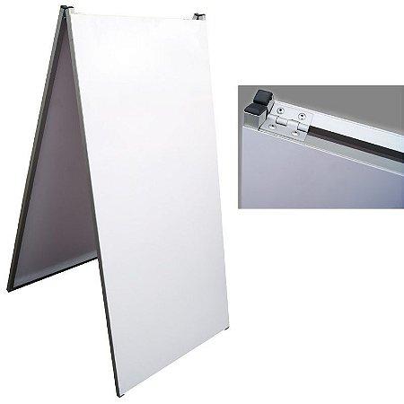 Display dupla face tipo cavalete 50cm x 100cm em alumínio