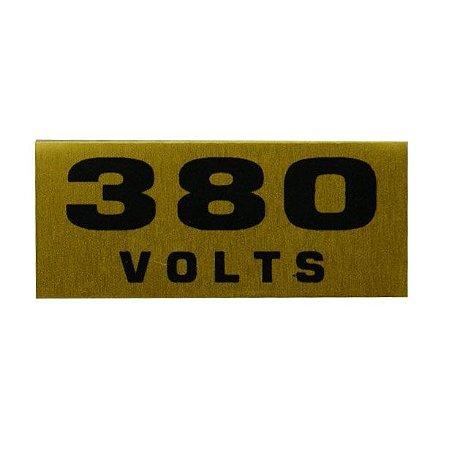 Etiqueta de voltagem em alumínio 380 volts cartela com 16 etiquetas de 1,5 x 3,5 cm