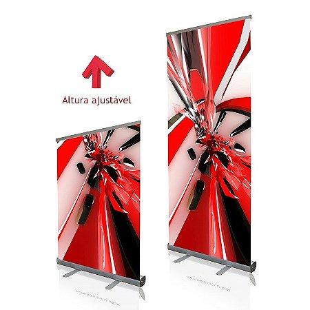 Roll up - porta banner em alumínio com altura ajustável de 130 cm a 200 cm