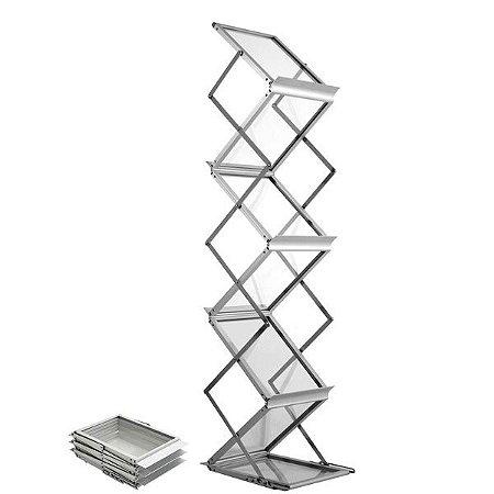 Porta revistas e catálogos torre em alumínio e acrílico