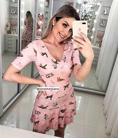 Vestido rosa gatinhos