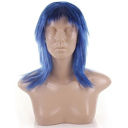 Peruca curta azul escura - material sintético