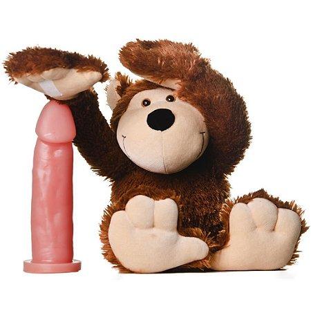 Macaco pelúcia com prótese maciça Hot Flowers