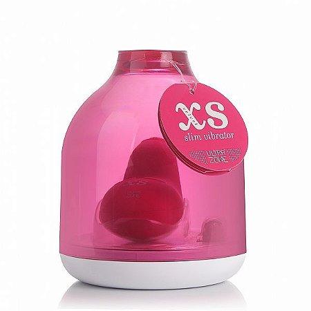 Vibrador XS Velvet Slim 8 cm - ROSA - Silicone - 3 velocidades
