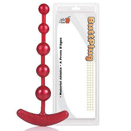 Plug Pure Anal Beads 18cm na cor vermelho