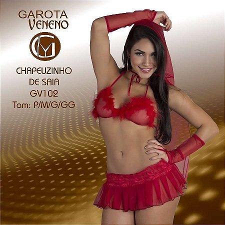 FANTASIA FEMININA GAROTA VENENO CHAPEUZINHO DE SAIA